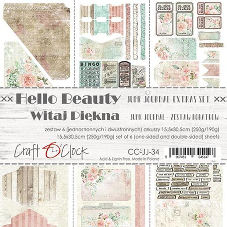 Craft O'Clock - Junk Journal Set - Hello Beauty - 6 Pcs. (CC-JJ-34)  Junk Journal Set, Hello Beauty Collection. Each Sheet Size 15.5 x 30.5cm. Pack contains 6 pieces, 3 Single sided, 250g, and 3 double sided, 190g.  Acid and Lignin free.