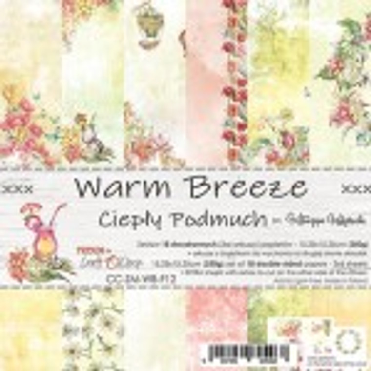 """Craft O'Clock - Paper Collection Set 8"""" x 8"""" Warm Breeze - 250 gsm, bonus design on back of the cover (CC-ZS-WB-F12)  A set of 18 double-sided pages.  Warm Breeze Collection (6 patterns) of high quality scrapbooking paper.  Each page is 6x6 inches or 15.25 x 15.25cm. The paper weight is 250gsm.  This product is acid and lignin free."""