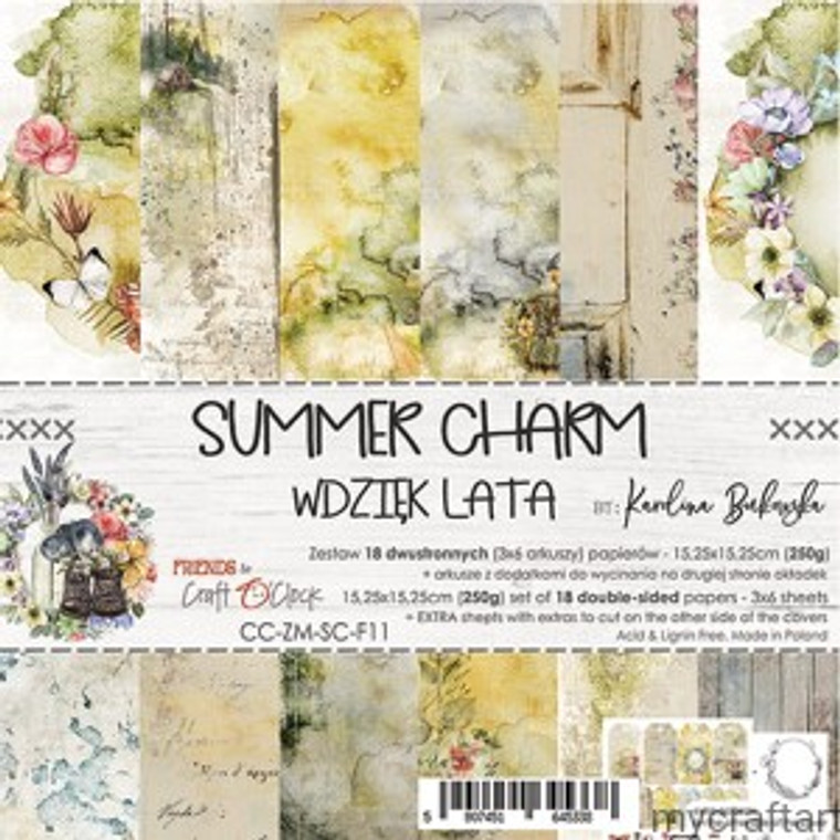 """Craft O'Clock - Paper Collection Set 6"""" x  6"""" Summer Charm - 250 gsm, bonus design on back of the cover (CC-ZM-SC-F11)  A set of 18 double-sided pages.  Summer Charm Collection (6 patterns) of high quality scrapbooking paper.  Each page is 6x6 inches or 15.25 x 15.25cm. The paper weight is 250gsm.  This product is acid and lignin free."""
