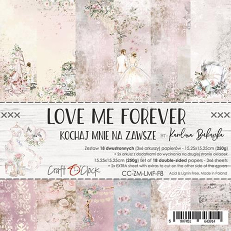 """Craft O'Clock - Paper Collection Set 6"""" x  6"""" Love Me Forever - 250 gsm, bonus design on back of the cover (CC-ZM-LMF-F8)  A set of 18 double-sided pages.  SLove Me Forever Collection (6 patterns) of high quality scrapbooking paper.  Each page is 6x6 inches or 15.25 x 15.25cm. The paper weight is 250gsm.  This product is acid and lignin free."""