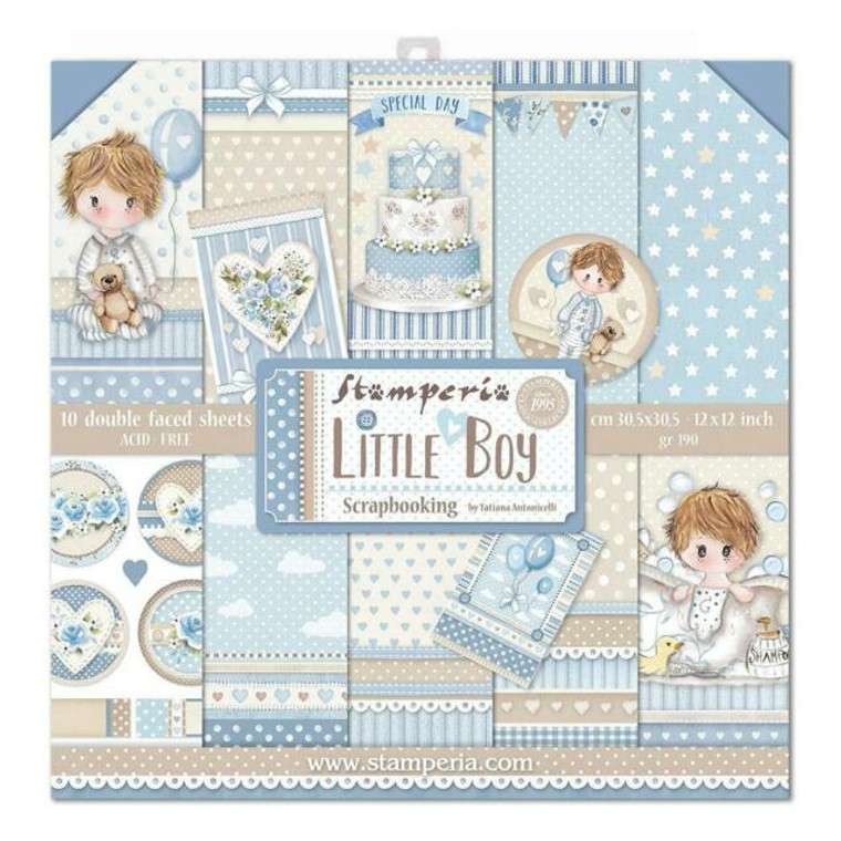 "Stamperia - Little Boy - 12""x12"" Paper Pad (SBBL68)  Stamperia exclusive designs. Paper Pad with 10 double-sided patterned paper. Thickness: heavyweight paper 170 g/m² Size: 12 ""x 12"" - 30,48 x 30,48 cm, Features: Acid & lignin free Made in Italy."
