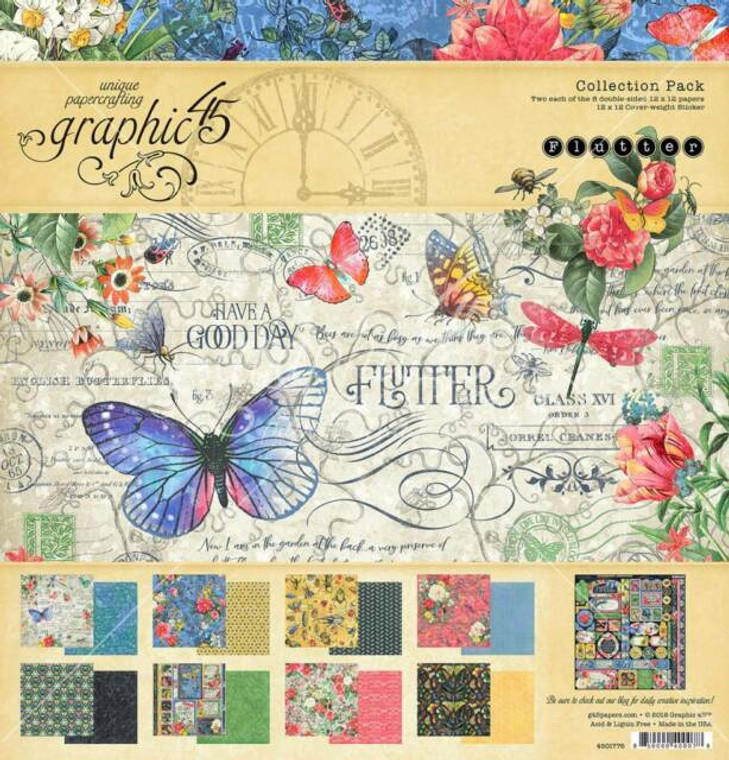"""Graphic 45 - Flutter 8x8 - 24 sheets (4501775) 8"""" x 8"""" comprising 3 each of all 8 double-sided papers from the Graphic 45 Flutter collection"""
