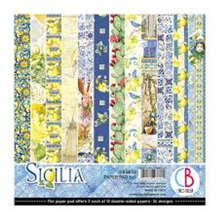 """Ciao Bella - Sicilia 6x6 - 24 sheets (CBQ033)  Sicilia - Paper Pack 6""""x6""""  High quality, colour-printed decorative Italian scrapbooking papers 190gsm.  6""""x6"""" (15cm x 15cm) double-sided. Acid and Lignin Free.  2 each of 12 double sided papers.  Ideal for scrapbooking, card-making and decoupage art and crafts projects"""