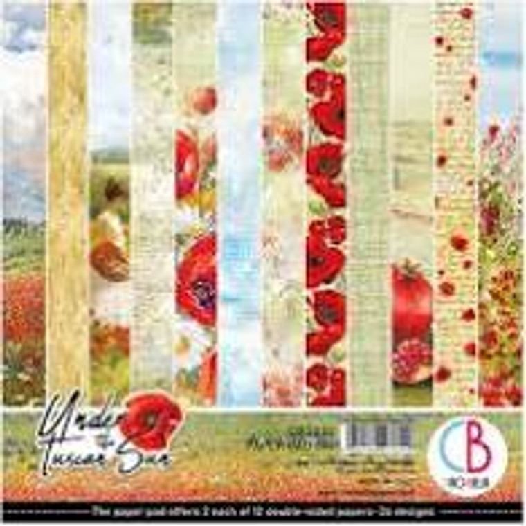 """Ciao Bella - Under The Tuscan Sun 6x6 - 24 sheets (CBQ032)  Under The Tuscan Sun - Paper Pack 6""""x6""""  High quality, colour-printed decorative Italian scrapbooking papers 190gsm.  6""""x6"""" (15cm x 15cm) double-sided. Acid and Lignin Free.  2 each of 12 double sided papers.  Ideal for scrapbooking, card-making and decoupage art and crafts projects"""