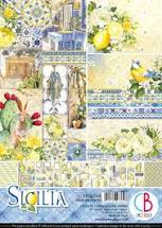 Ciao Bella - Sicilia A4  - 9 sheets (CBCL033)  Sicilia - Paper Pack A4  High quality, colour-printed decorative Italian scrapbooking papers 190gsm.  A4 21 x 29.7 cm double-sided. Acid and Lignin Free.  1 each of 9 double sided papers.  Ideal for scrapbooking, card-making and decoupage art and crafts projects