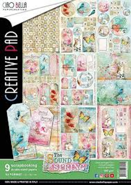 Ciao Bella - The Sound Of Spring A4  - 9 sheets (CBCL011)  The Sound Of Spring - Paper Pack A4  High quality, colour-printed decorative Italian scrapbooking papers 190gsm.  A4 21 x 29.7 cm double-sided. Acid and Lignin Free.  1 each of 9 double sided papers.  Ideal for scrapbooking, card-making and decoupage art and crafts projects