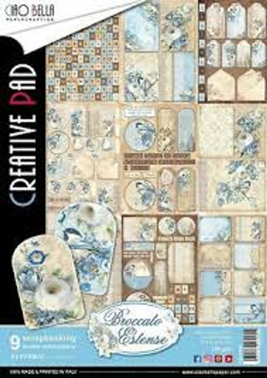 Ciao Bella - Broccato Estense A4  - 9 sheets (CBCL007)  Broccato Estense - Paper Pack A4  High quality, colour-printed decorative Italian scrapbooking papers 190gsm.  A4 21 x 29.7 cm double-sided. Acid and Lignin Free.  1 each of 9 double sided papers.  Ideal for scrapbooking, card-making and decoupage art and crafts projects