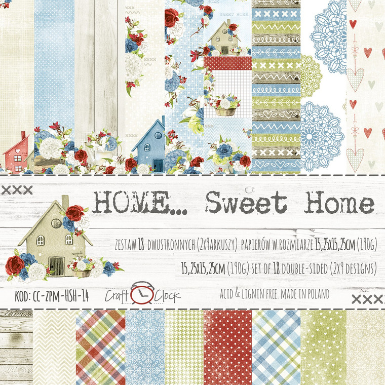 """Craft O'Clock - Paper Collection Set 6"""" x  6"""" Home Sweet Home - 190gsm,  (CC-ZPM-HSH-14)  A set of 18 double-sided pages.   2 x 9 designs   Set of high-quality papers for scrapbooking and other craft techniques. Perfect for making layouts, albums and greeting cards or invitations."""