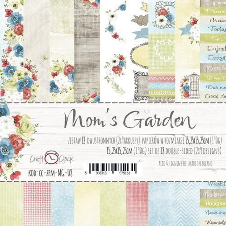 "Craft O'Clock - Paper Collection Set 6"" x  6"" Mom's Garden 190gsm,  (CC-ZPM-MG-08)  A set of 18 double-sided pages.   2 x 9 designs   Set of high-quality papers for scrapbooking and other craft techniques. Perfect for making layouts, albums and greeting cards or invitations."