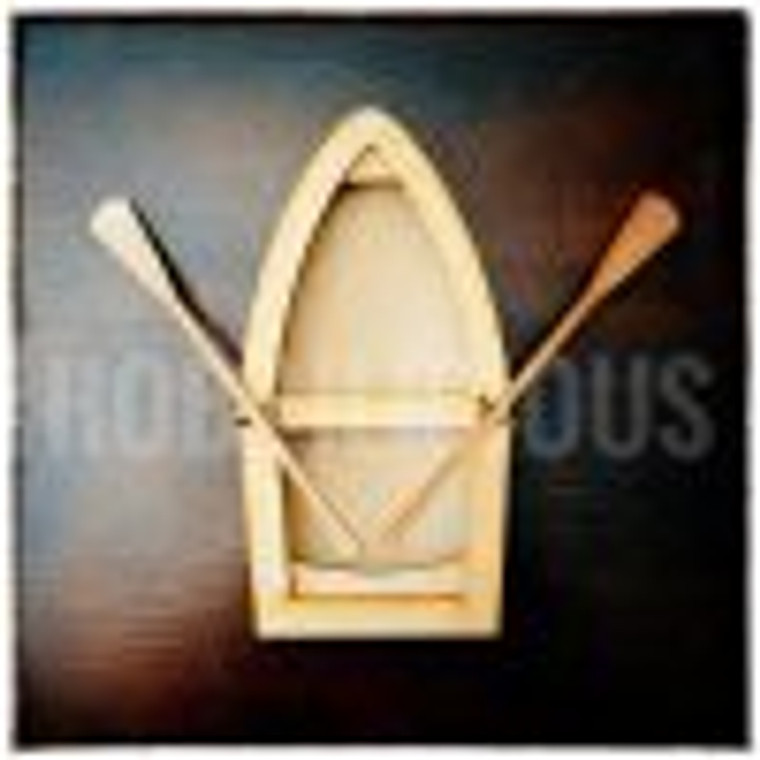 MDF Blank Large Row Boat - (HLRB)  MDF 3mm Imagination Blank  3mm Boat elements (x21 pieces) : Assembled size – 98mm x 189mm x 22mm   2mm Boat elements (x4 pieces): 2x Oars and 2x Oar Rests  Can be painted, decoupaged, stained, embellished.  Let you imagination run wild!