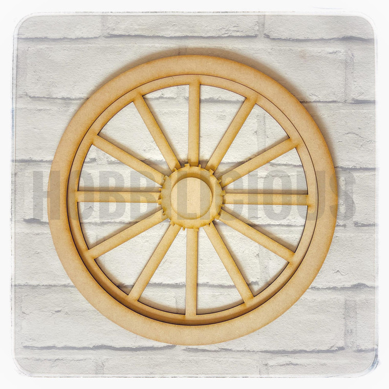 MDF Blank Large Wheel - (HLW)  MDF 3mm Imagination Blank  3mm MDF:  Wheel – 30cm x 30cm  Outer rim 30cm x 30cm  Cog – 7.2cm x 7.2cm  Center Circle – 4.4cm x 4.4cm  Can be painted, decoupaged, stained, embellished.  Let you imagination run wild!