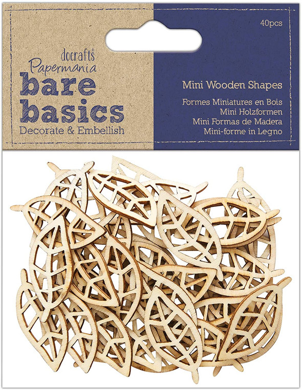 Papermania Bare Basics Wooden Shapes Leaf (40pcs) (PMA 174524)  Pack of beautiful wooden leaf embellishments. 40 Pieces in pack.  Each leaf has beautiful detailing and can be used as embellishments in all sorts of craft projects.  Scrapbooking, Card making, Decoupeage and more.  Each leaf can be painted and glittered or leave them in their natural wood colour.