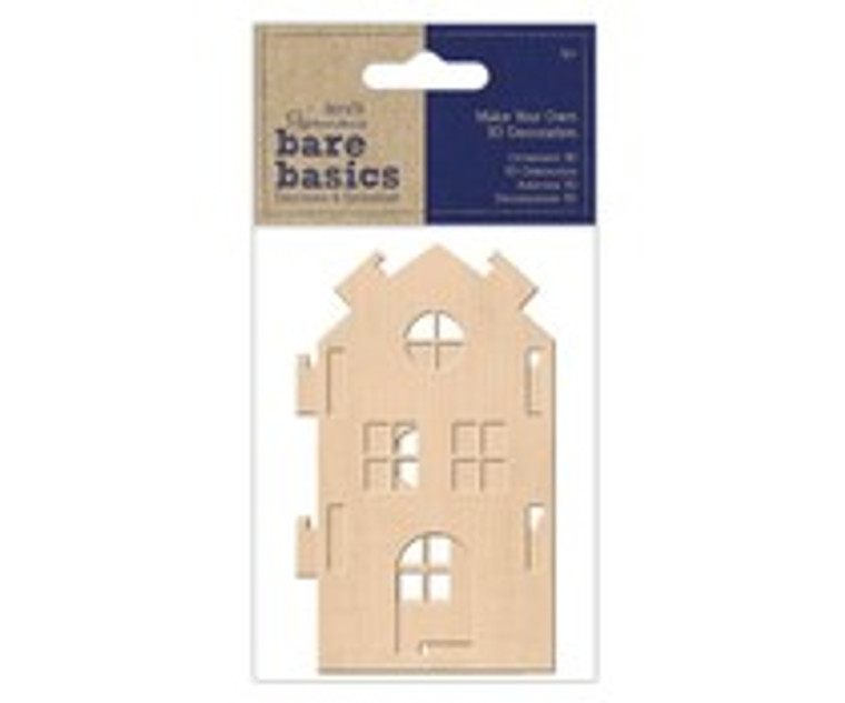 Papermania, Bare Basics, Make Your Own 3D Decoration, Medium Wooden House (PMA 174735)  Make you own 3D Wooden House with this lovely 3D Decoration pack from Bare Basics. Pop the pieces together for a truly charming make! Embellish, paint or simply leave natural. Assembled house approx. 70mm wide x 62mm deep x 113mm high. Made from 3mm thick.