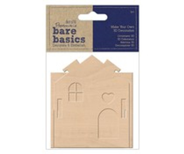 Papermania, Bare Basics, Make Your Own 3D Decoration, Wooden House (PMA 174734)  Make you own 3D Wooden House with this lovely 3D Decoration pack from Bare Basics. Pop the pieces together for a truly charming make! Embellish, paint or simply leave natural. Assembled house approx. 70mm wide x 85mm deep x 80mm high. Made from 3mm thick.