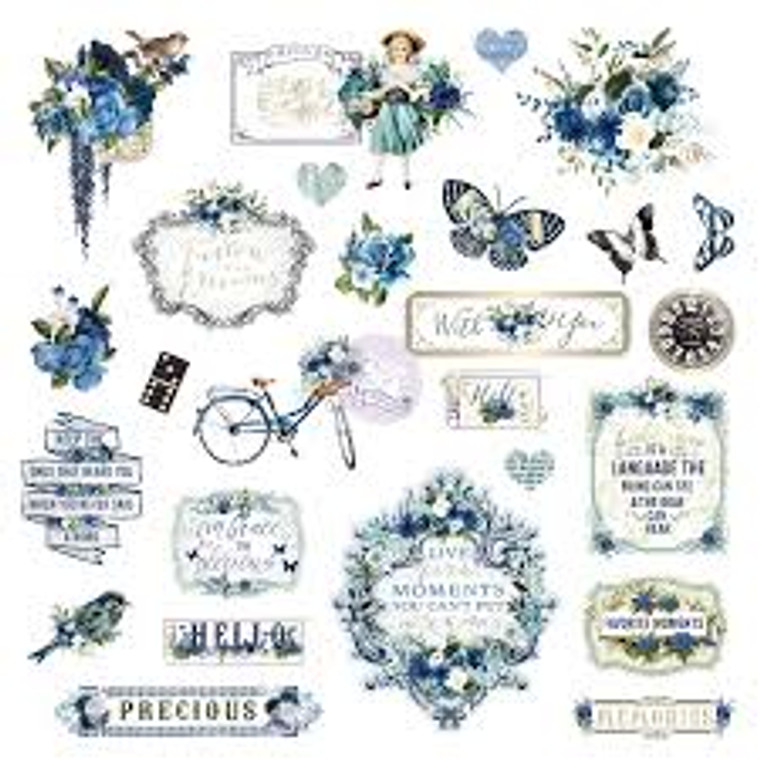 Prima Marketing - Georgia Blues Ephemera & Acetate (634186)  Prima Marketing Georgia Blues Ephemera Cardstock & Acetate Die-Cuts 41/Pkg-Shapes, Tags, Words, Foiled Accents.