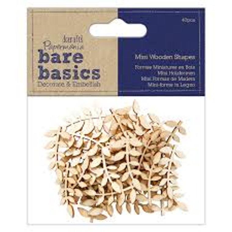 Papermania Bare Basics Wooden Shapes Vine Leaf (40pcs) (PMA 174525)  Pack of beautiful wooden leaf embellishments. 40 Pieces in pack.  Each leaf has beautiful detailing and can be used as embellishments in all sorts of craft projects.  Scrapbooking, Card making, Decoupeage and more.  Each leaf can be painted and glittered or leave them in their natural wood colour.