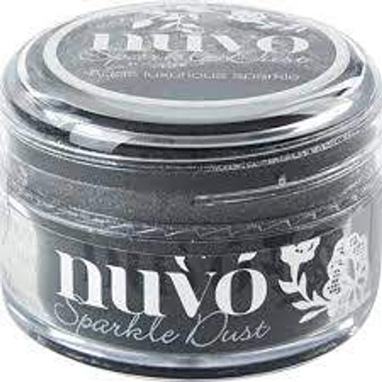 Nuvo - Sparkle Dust - Black Magic (548N)  Micro fine glitter, It is so fine that it doesn't have the same feel as glitter and a little can go a long way.  Use with stamps, stencils or and papercraft project, these 15ml pots are perfect.  This tub comes with a wide top allowing you to easily pour any excess back in to use next time.
