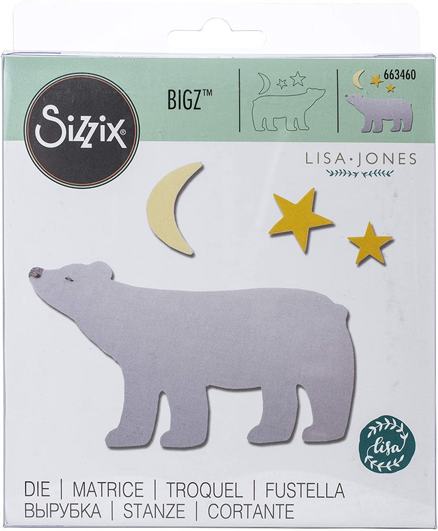 Sizzix Bigz Die - Polar Bear #2 (663460)  With steel-rule construction, a Bigz die cleanly cuts thick materials, including cardstock, chipboard, fabric, foam, magnet, leather, metallic foil, paper and sandpaper (in limited use). Its wider size offers you more design options.  This die is designed for use only with the BIGkick, Big Shot and Vagabond machines and requires the use of a pair of Cutting Pads.