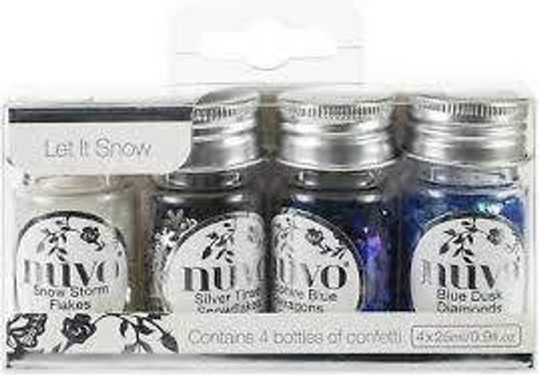 Nuvo - Pure Sheen Confetti 4 Pack - Let it Snow (288N)  This carefully selected pack contains a combination of the most popular Pure Sheen colours. This stunning confetti collection come in decorative plastic bottles which are easy to pour and return the confetti for future use. This Let It Snow pack contain four dazzling shades including Snow Storm Flakes, Silver Tinsel Snowflakes, Sapphire Blue Hexagons and Blue Dusk Diamonds. Also available in the Nuvo Pure Sheen Range are the Glitter and Sequins packs, offering unique iridescent and flat glitter colours that are perfect for special occasions and creative projects. All packs are available in matching colour palettes, allowing you to coordinate your creations across the range.  Contains four 25ml Plastic Bottles Snow Storm Flakes, Silver Tinsel Snowflakes, Sapphire Blue Hexagons, Blue Dusk Diamonds      4 Colours in a pack     Beautiful Bottles     Available in Confetti/Sequins/Glitter     High intensity sparkle     Co-ordinating Colours