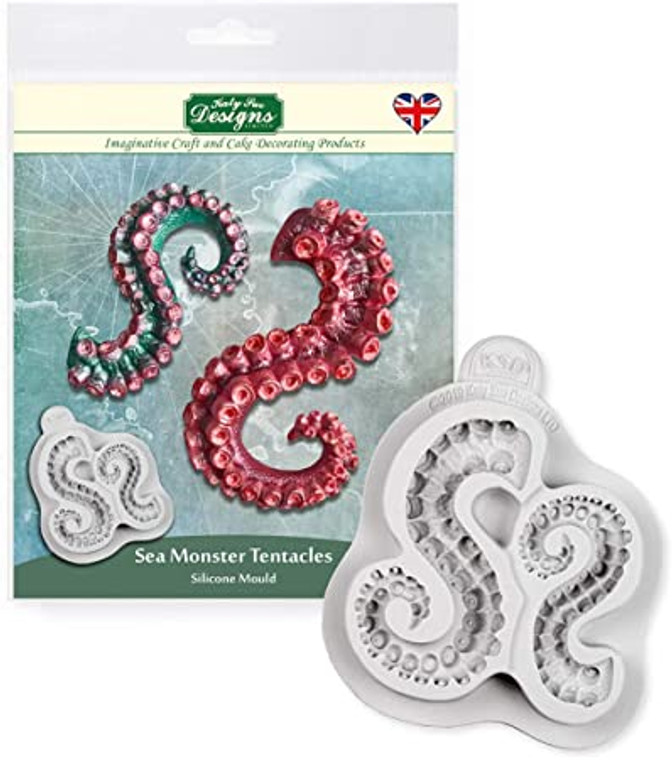 Katy Sue Designs - Sea Monster Tentacles (CE0100 )  This highly anticipated sea monster mould contains 2 different sizes tentacles with mind blowing detailed suckers and scaled skin. The Sea Monster Tentacles swirl round, making it easy to pose them however you wish.