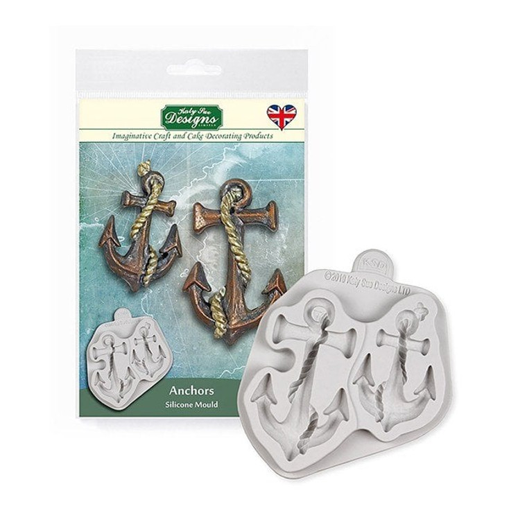 Katy Sue Designs - Anchors (CE0099)  Creating awe-inspiring crafts or cake decoration is smooth sailing with our detailed anchor moulds. Just like anchors themselves, creating an anchor from scratch can be a real drag. That's why you can now get this amazingly detailed anchor set. The mould includes two different sized anchors that feature a rope that wraps around for extra detailing.