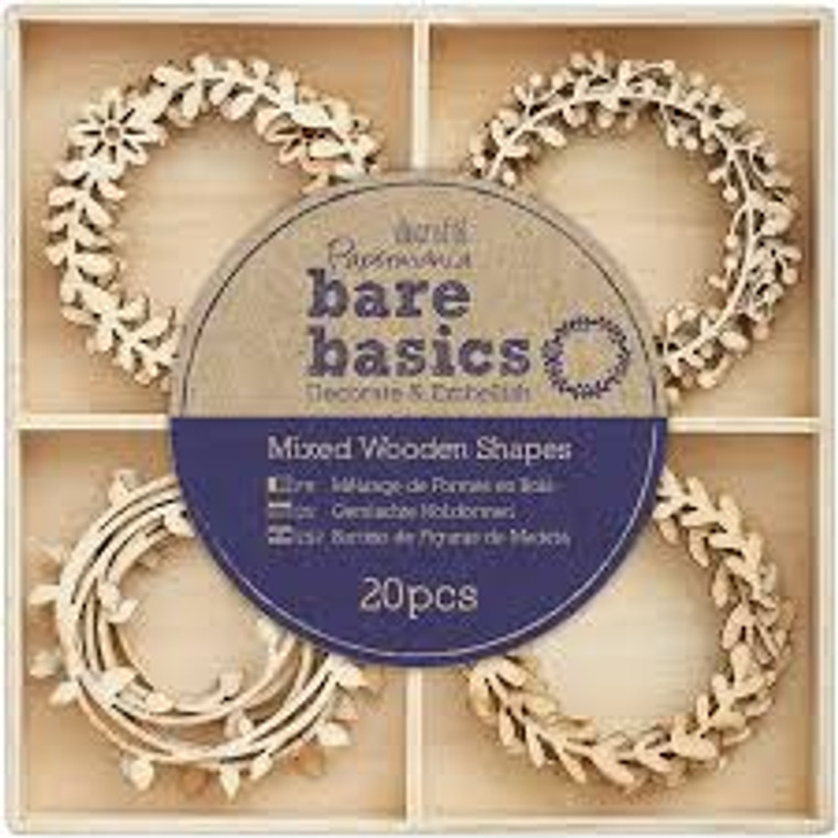 Papermania - Bare Basics - Wooden Shapes - Wreaths (20pcs) (PMA 174692)  This gorgeous pack from Bare Basics contains 45 Wooden Shapes. Featuring 9 Wedding Faces designs. Perfect for creative card making scrapbooking. Also, can be used as embellishments for homemade decorations, event ornaments and much more! Add paint glitter or simply leave natural.