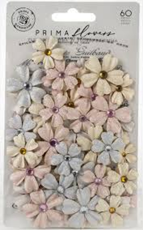 """Prima Marketing - Lavender Frost Collection - Flower Embellishments - Sweet Lavender (635121)  Delicate and sweet, the Prima, Lavender Frost Collection of Flower Embellishments add a touch of spring to your projects. The package measures 3.8"""" x 7.5"""" and includes mulberry paper flowers with rhinestone centers. Ideal embellishments for your Wedding/Gift cards, and all other celebrations."""