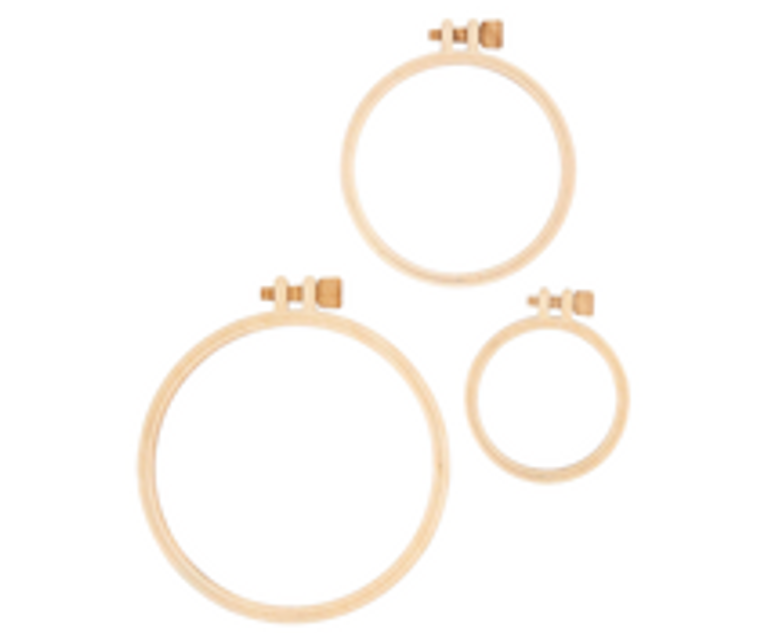 """Fun Stampers Journey DIY Hoops Wooden Embellishments (AC-0378)  Wooden """"hoops"""" are perfect for cards, ornaments, or other DIY creations. Hoops measure 2"""", 3"""" and 4"""" - 2 of each size. Contains 6 hoops."""