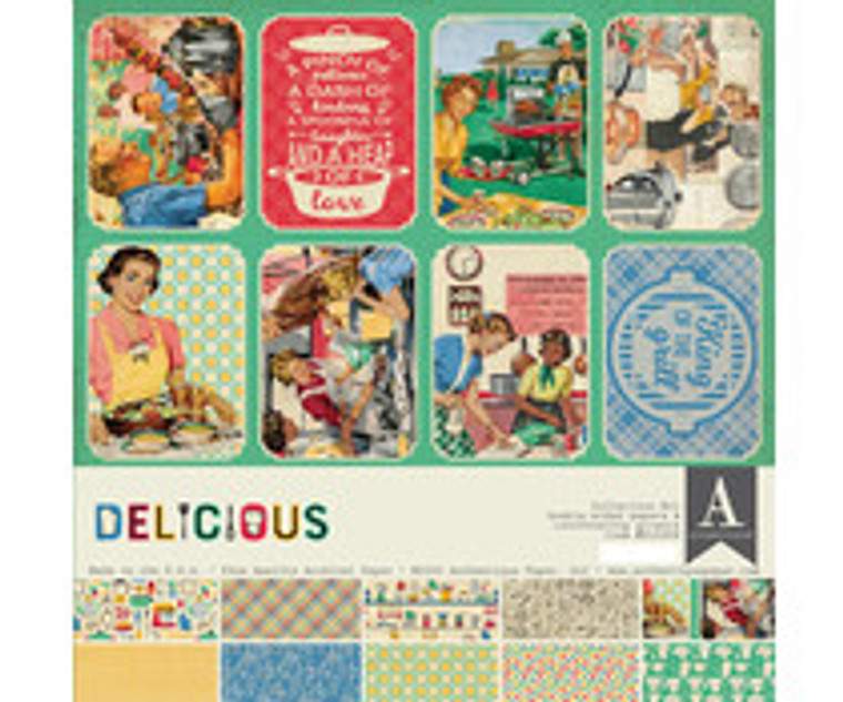 Authentique Delicious 12x12 Inch Collection Kit (DLC008)  Collection design paper for projects like scrapbooking, making cards or home decor. For specific product information take a look at the product image.
