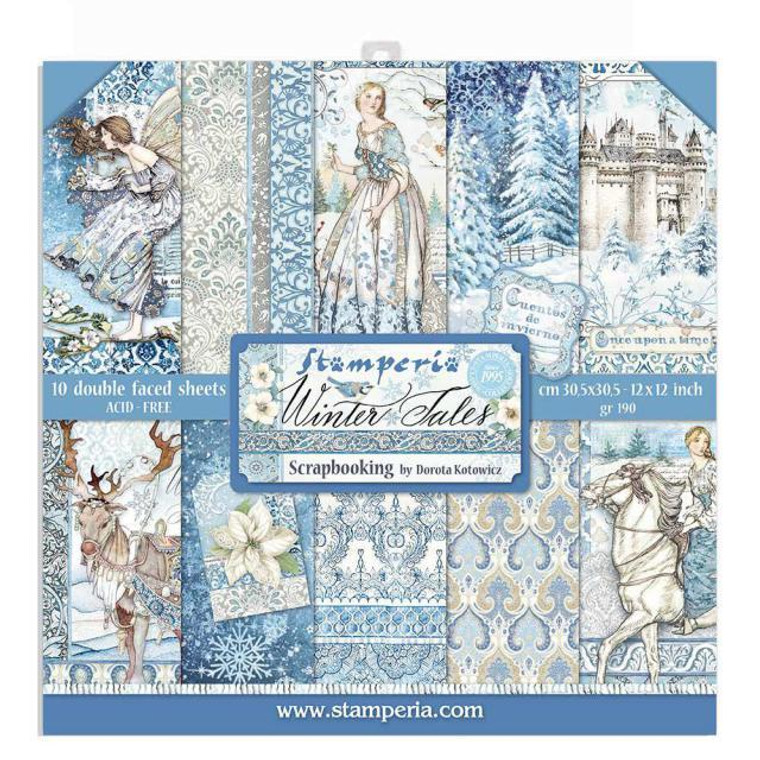 Stamperia Winter Tales 12x12 Inch Paper Pack (SBBL76)  Stamperia 12x12 Inch Paper Pack. 30.5x30.5cm. 10 double sided sheets. 190gr, acid-free. By Dorota Kotowicz