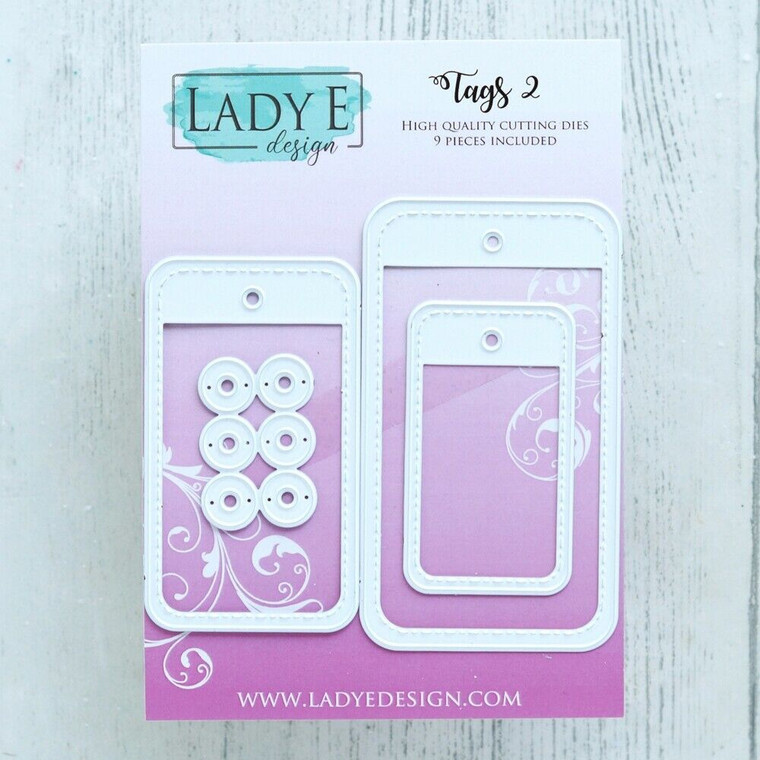Lady E Design - Tags 2, Cutting Dies Set  High Quality Cutting Dies, used in most die cutting machines.