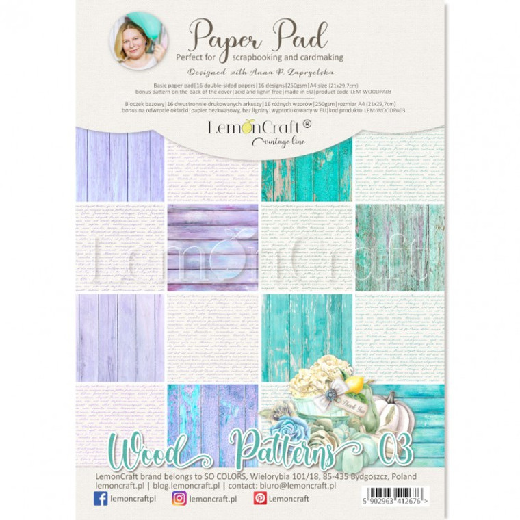 Lemoncraft - Wood Patterns 03 - Scrapbooking Papers A4 (LEM-WOODPA-03)  Designed with Anna Zapryelska.  Pad contains 16 double-sided papers, 16 designs - 2 pieces per design, 250gsm, A4 size.  Bonus pattern at the back of the cover.  Acid and Lignin free.