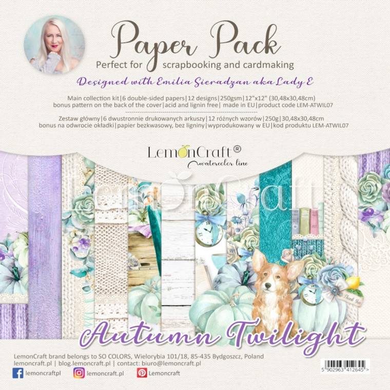 """Lemoncraft - Autumn Twilight - Scrapbooking Papers 12x12""""  (LEM-ATWIL07)  Lemoncraft Pad of scrapbooking papers designed with Emilia Sieradzan (Aka Lady E Design), (LEM-ATWIL07).  Set contains 6 double-sided papers, 12 designs - 1 piece per design, 250gsm.  12x12"""" size.  Bonus pattern at the back of the cover.  Acid and Lignin free."""