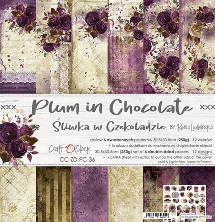"""Craft O'Clock - Paper Collection 12""""x12"""" Plumb In Chocolate - 250 gsm, 12 designs, bonus design on back of the cover (CC-ZD-PC-36)  A set of 6 double-sided pages.  Plumb In Chocolate Collection (12 designspatterns) of high quality scrapbooking paper.  Each page is 12x12 inches or 30.5x30.5cm.  The paper weight is 250gsm.  1 Extra Sheet with extras to cut on the other side of the cover.  This product is acid and lignin free."""
