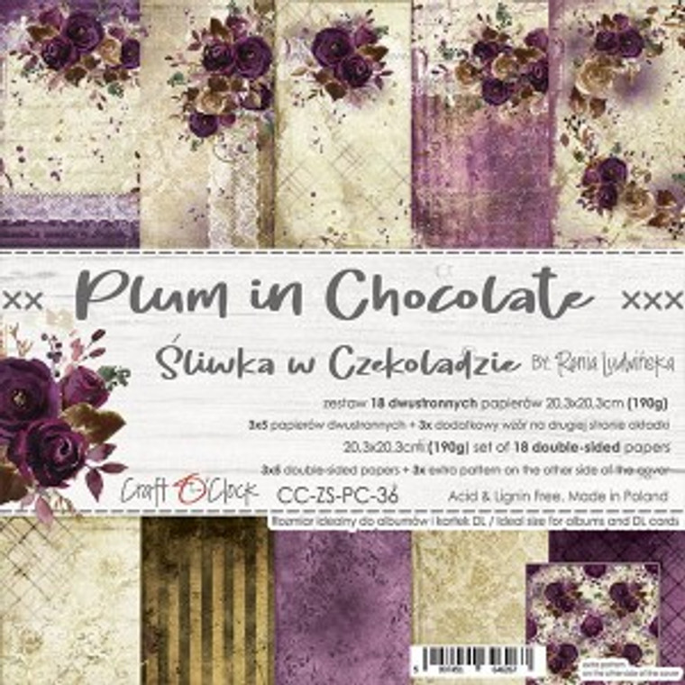 """Craft O'Clock - Paper Collection Set 8"""" x 8"""" Plum In Chocolate - 190 gsm, bonus design on back of the cover (CC-ZS-PC-36)  Craft O'clock - Plum In Chocolate Paper Collection.  A set of 18 double-sided pages of a high quality scrapbooking paper.  Every page is 8x8 inches (20.3x20.3cm).  The set contains 3x5 double sided papers plus 3x extra pattern on the other side of the cover.  The paper weighs 190gsm.  Acid and lignin free."""
