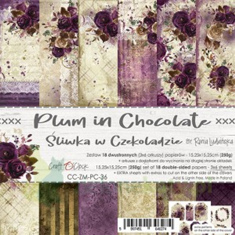 """Craft O'Clock - Paper Collection Set 6""""x 6"""" Plum in Chocolate - 250 gsm, bonus design on back of the cover (CC-ZM-PC-36)  A set of 18 double-sided pages.  Plum In Chocolate Collection (6 patterns) of high quality scrapbooking paper.  Each page is 6x6 inches or 15.25 x 15.25cm. The paper weight is 250gsm.  This product is acid and lignin free."""