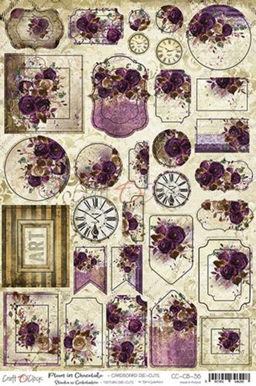 Craft O'Clock - Plum In Chocolate - Cardboard Die-Cuts 2mm (CC-CB-36)  Cardboard Die-Cuts that coordinate with the Plum In Chocolate range of papers. This range is perfect for use in all of your cardmaking, scrapbooking, decoupage and craft projects. Cardboard Die-Cuts 20.3x30.5cm sheet with cut out elements on solid 2mm cardboard (joined with a sheet by small bridges). Die-cuts were created in the process of laminating paper on solid cardboard 2mm. Perfect for mixed media techniques thanks to their thickness.Acid and lignin free.
