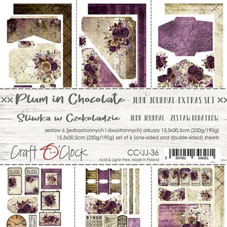 Craft O'Clock - Junk Journal Extras Set - Plum Chocolate - 6 Pcs. (CC-JJ-36)  Junk Journal Extras Set, Plum In Chocolate Collection. Each Sheet Size 15.5 x 30.5cm. Pack contains 6 pieces, 3 Single sided, 250g, and 3 double sided, 190g.  Acid and Lignin free.