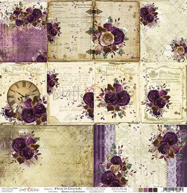 """Craft O'Clock - Double-Sided Paper 12""""x 12"""" Plum In Chocolate - Decorative Cards - 190 gsm (1 sheet) (CC-PL-PC-36)  Single sheet of high-quality paper for scrapbooking and other craft projects. Acid-free and lignin-free.  Double sided paper.  Size: 12x12 inches (30,5x30,5cm)  Weight: 190gsm."""