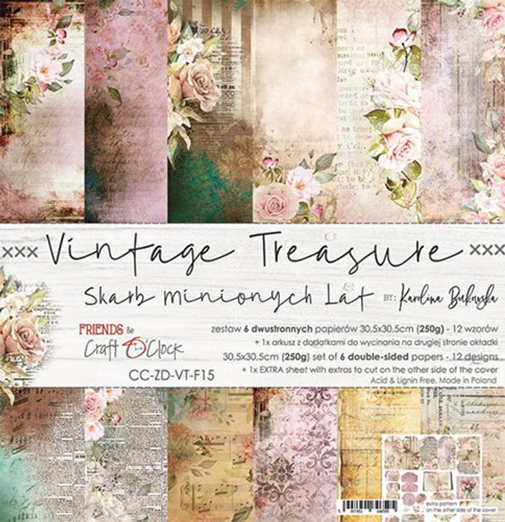 "Craft O'Clock - Paper Collection 12""x12"" Vintage Treasure - 250 gsm, 12 designs, bonus design on back of the cover (CC-ZD-VT-F15)  A set of 6 double-sided pages.  Vintage Treasure Collection (12 patterns) of high quality scrapbooking paper.  Each page is 12x12 inches or 30.5x30.5cm.  The paper weight is 250gsm.  1 Extra Sheet with extras to cut on the other side of the cover.  This product is acid and lignin free."