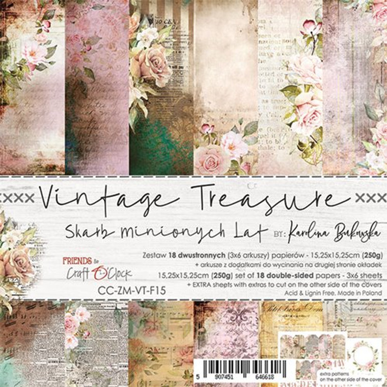 """Craft O'Clock - Paper Collection Set 6""""x 6"""" Vintage Treasure - 250 gsm, bonus design on back of the cover (CC-ZM-VT F15)  A set of 18 double-sided pages.  Vintage Treasure Collection (6 patterns) of high quality scrapbooking paper.  Each page is 6x6 inches or 15.25 x 15.25cm. The paper weight is 250gsm.  This product is acid and lignin free."""