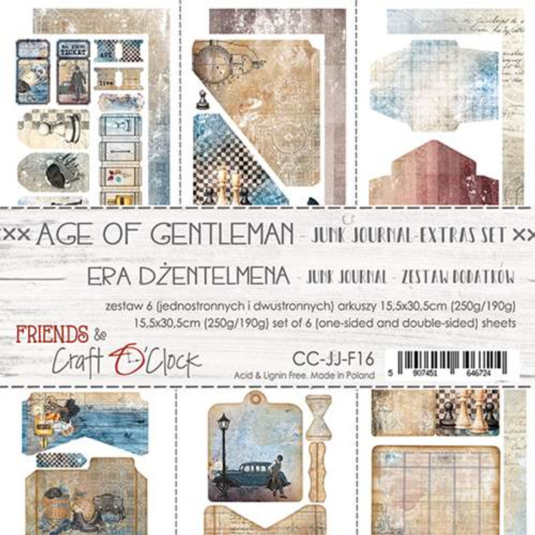 Craft O'Clock - Junk Journal Set - Age of Gentleman - 6 Pcs. (CC-JJ-F16)  Junk Journal Set, Age of Gentleman Collection. Each Sheet Size 15.5 x 30.5cm. Pack contains 6 pieces, 3 Single sided, 250g, and 3 double sided, 190g.  Acid and Lignin free.