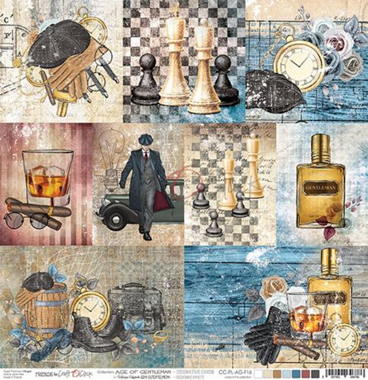 "Craft O'Clock - Double-Sided Paper 12""x 12"" Age of Gentleman - Decorative Cards - 190 gsm (1 sheet) (CC-PL-AG-F16)  Single sheet of high-quality paper for scrapbooking and other craft projects. Acid-free and lignin-free.  Double sided paper.  Size: 12x12 inches (30,5x30,5cm)  Weight: 190gsm."