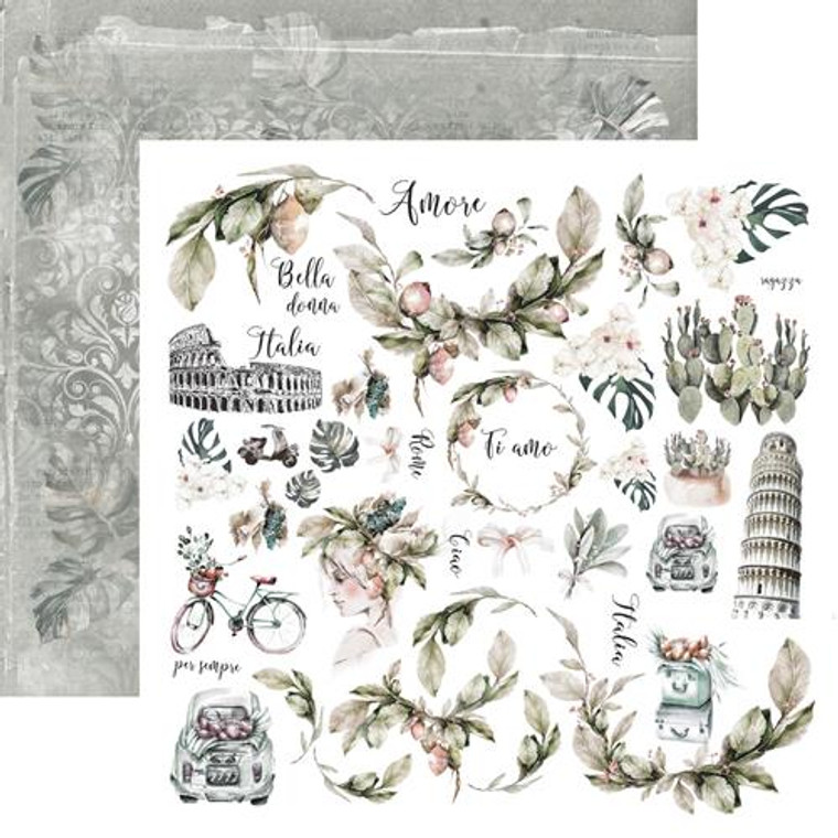 """13@rts - Single Sided Paper 12""""x12"""" - Bella - 250gsm, (ARTBE06)  Scrapbooking Paper 12ins x 12ins (30cm x130cm)  13 Arts - Bella, designed by Aida Domisiewicz 250gsm. Acid and Lignin free."""