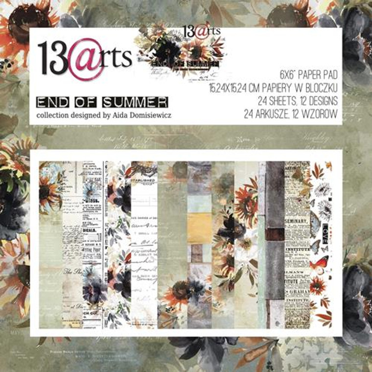"""13@rts 6""""x6"""" Paper Set - End Of Summer - 250gsm, 12 designs (ARTEN07)  Scrapbooking Papers 6ins x 6ins (15.24cm x 15.24cm)  13 Arts - End Of Summer, designed by Aida Domisiewicz 200gsm.  Set contains 24 sheets of one-sided papers.12 designs. Acid and Lignin free."""