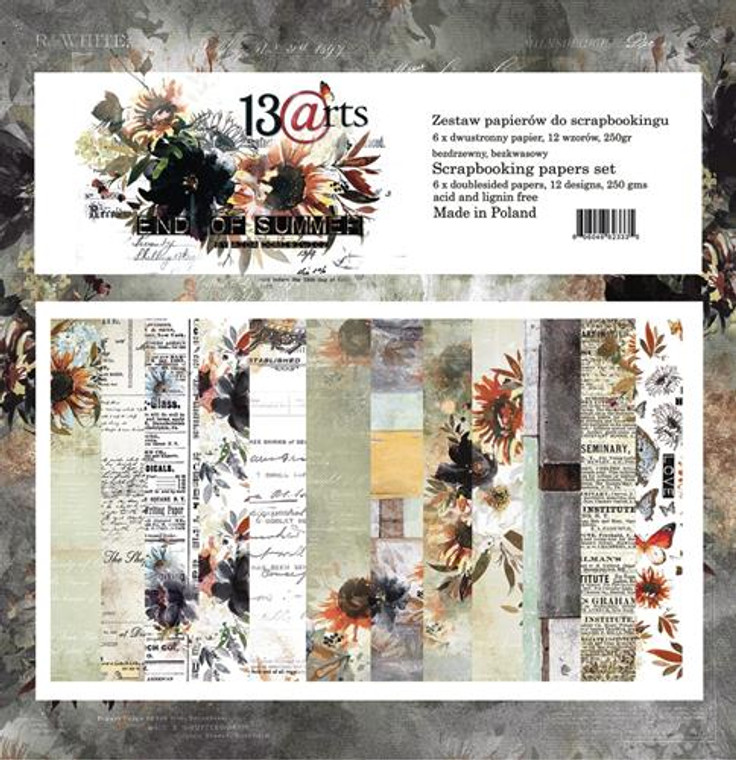 """13@rts 12""""x12"""" Paper Set - End Of Summer - 250gsm, 12 designs (ARTEN00)  Scrapbooking Papers 12ins x 12ins (30cm x130cm)  13 Arts - End Of Summer, designed by Aida Domisiewicz 250gsm.  Set contains 6 double sided papers. Acid and Lignin free."""
