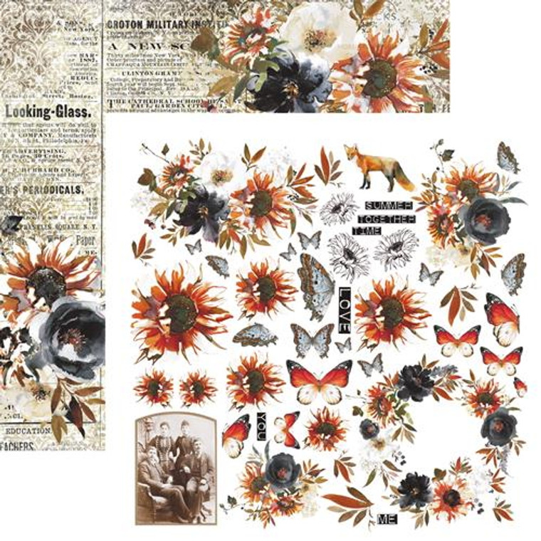 """13@rts - Single Sided Paper 12""""x12"""" - End Of Summer - 250gsm, (ARTEN06)  Scrapbooking Paper 12ins x 12ins (30cm x130cm)  13 Arts - Bella, designed by Aida Domisiewicz 250gsm. Acid and Lignin free."""