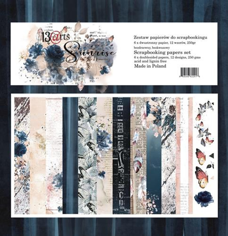 """13@rts 12""""x12"""" Paper Set - Sunrise - 250gsm, 12 designs (ARTSU00)  Scrapbooking Papers 12ins x 12ins (30cm x130cm)  13 Arts - Sunrise, designed by Aida Domisiewicz 250gsm.  Set contains 6 double sided papers. Acid and Lignin free."""