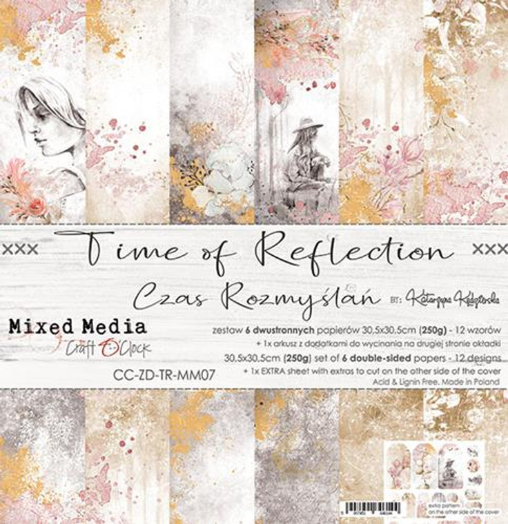 """Craft O'Clock - Paper Collection 12""""x12"""" Time Of Reflection - 250 gsm, 12 designs, bonus design on back of the cover (CC-ZD-TR-MM07)  A set of 6 double-sided pages.  Time Of Reflection Collection (12 patterns) of high quality scrapbooking paper.  Each page is 12x12 inches or 30.5x30.5cm.  The paper weight is 250gsm.  1 Extra Sheet with extras to cut on the other side of the cover.  This product is acid and lignin free."""