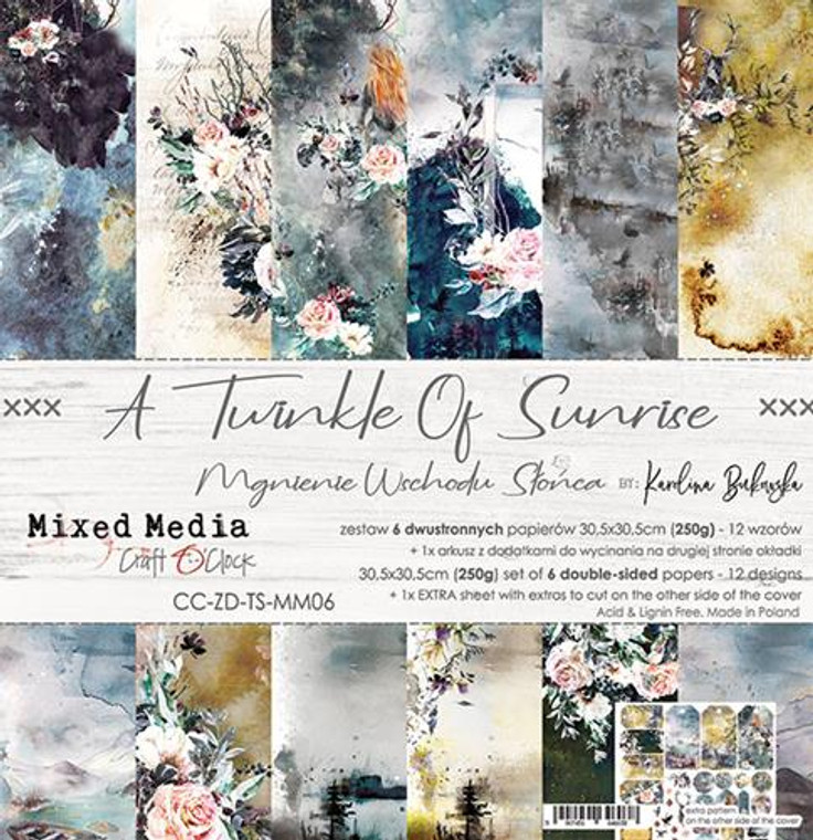 """Craft O'Clock - Paper Collection 12""""x12"""" A Twinkle Of Sunrise - 250 gsm, 12 designs, bonus design on back of the cover (CC-ZD-TS-MM06)  A set of 6 double-sided pages.  A Twinkle Of Sunrise Collection (12 patterns) of high quality scrapbooking paper.  Each page is 12x12 inches or 30.5x30.5cm.  The paper weight is 250gsm.  1 Extra Sheet with extras to cut on the other side of the cover.  This product is acid and lignin free."""